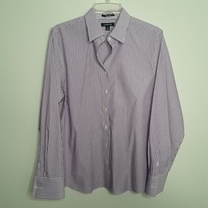 Lands' End  Lavender stripe button up shirt